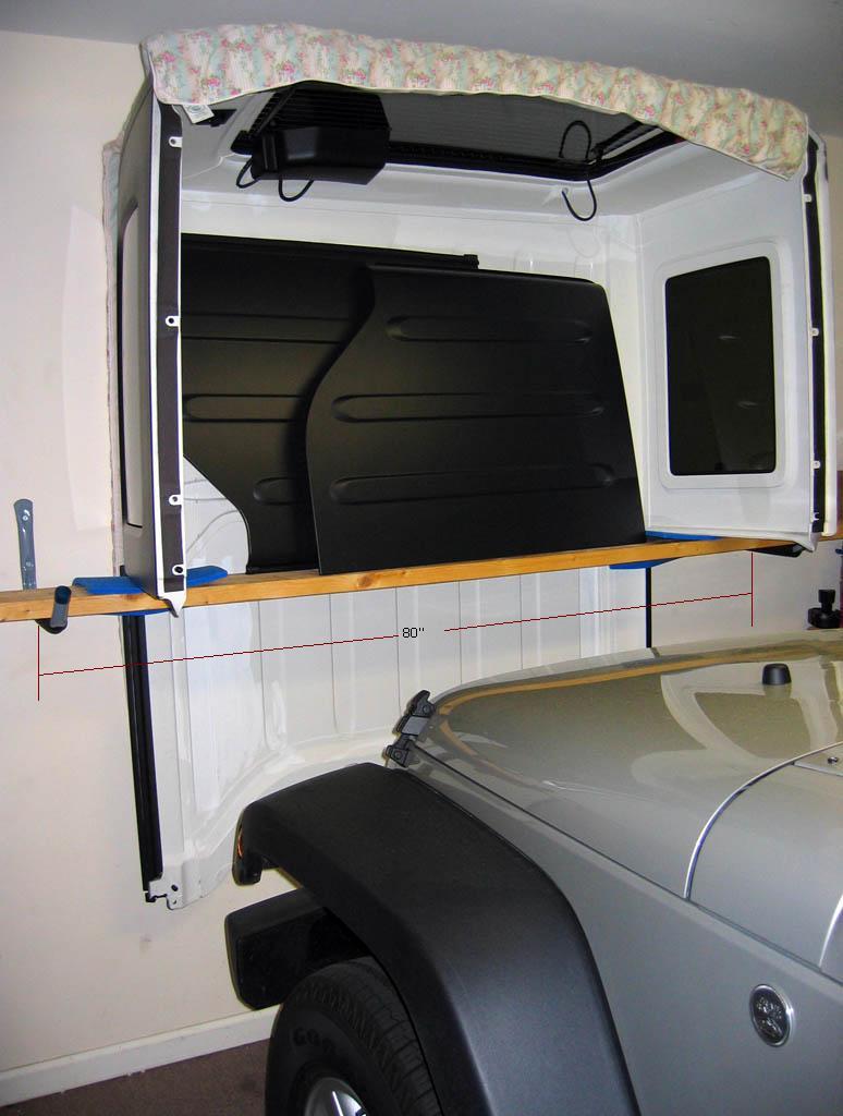 cheap easy hardtop hanger storage solution. Black Bedroom Furniture Sets. Home Design Ideas